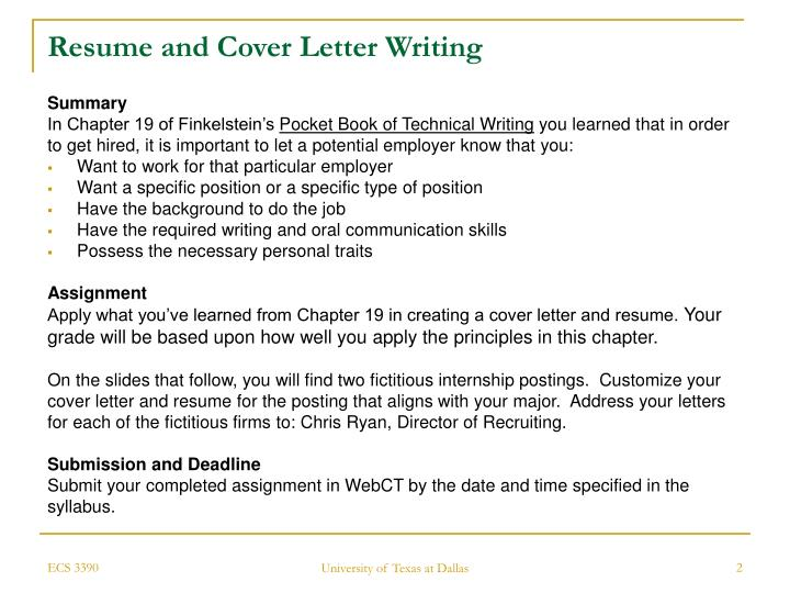 Ppt Activity Resume And Cover Letter Writing Click On