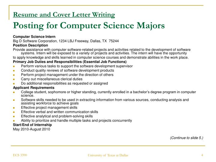 intern cover letter computer science