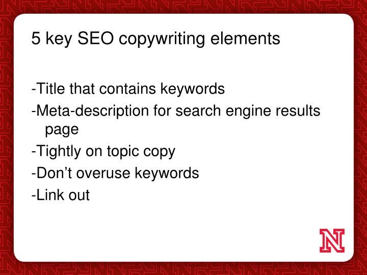 5 key SEO copywriting elements