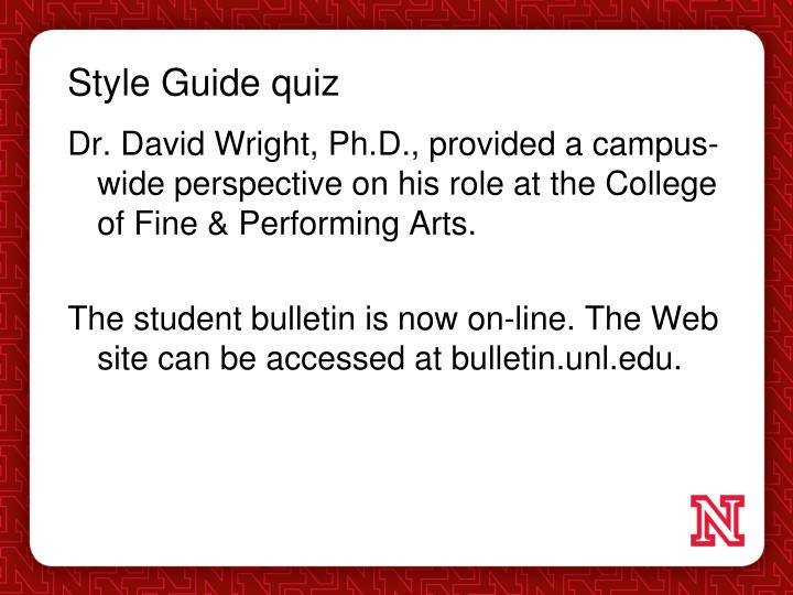 Style Guide quiz