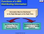 functions of a mis distributing information