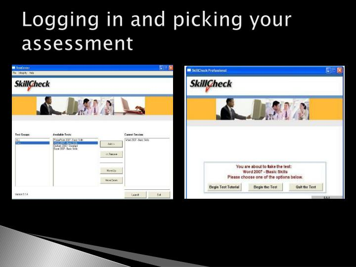 Logging in and picking your assessment