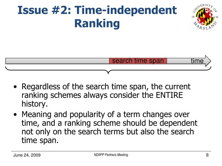 Issue #2: Time-independent Ranking
