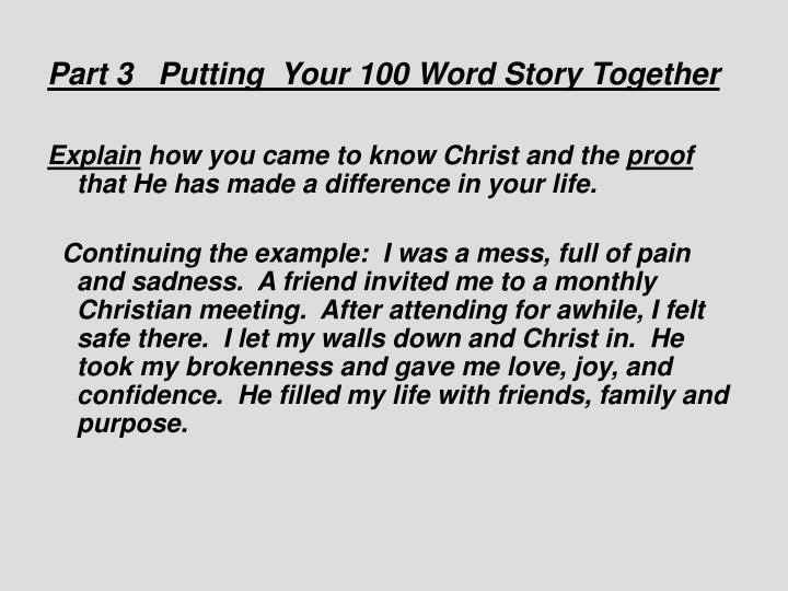 Part 3   Putting Your 100 Word Story Together