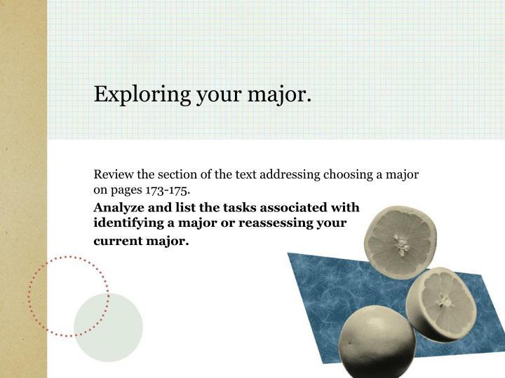 Exploring your major.