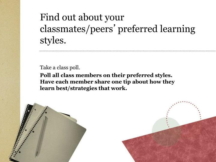 Find out about your classmates/peers