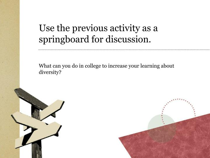 Use the previous activity as a springboard for discussion.