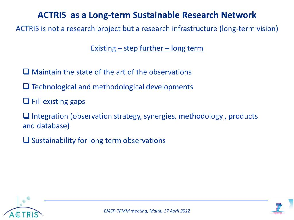 PPT The ACTRIS research infrastructure in support to EMEP