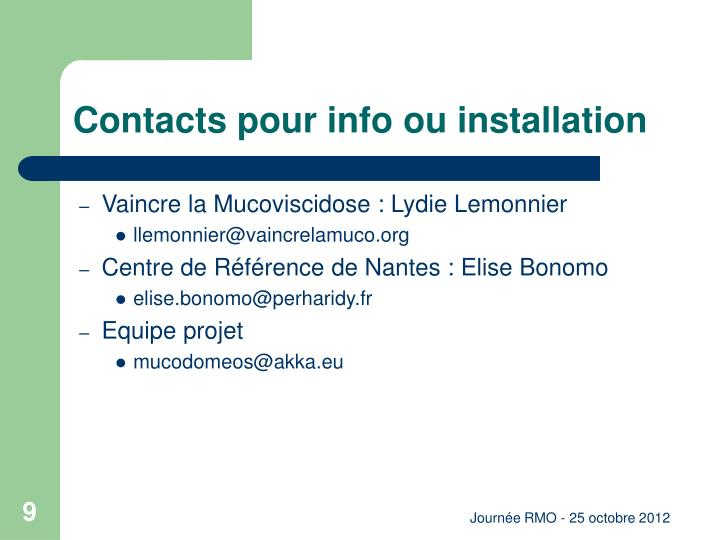 Contacts pour info ou installation