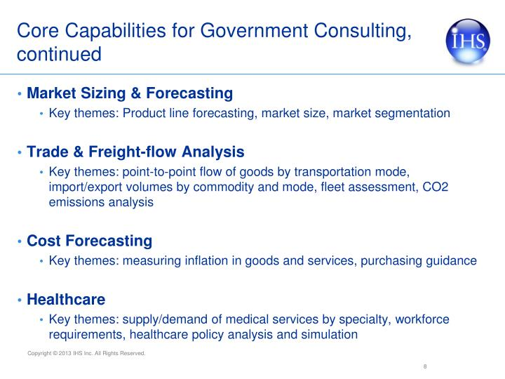 Core Capabilities for Government Consulting, continued