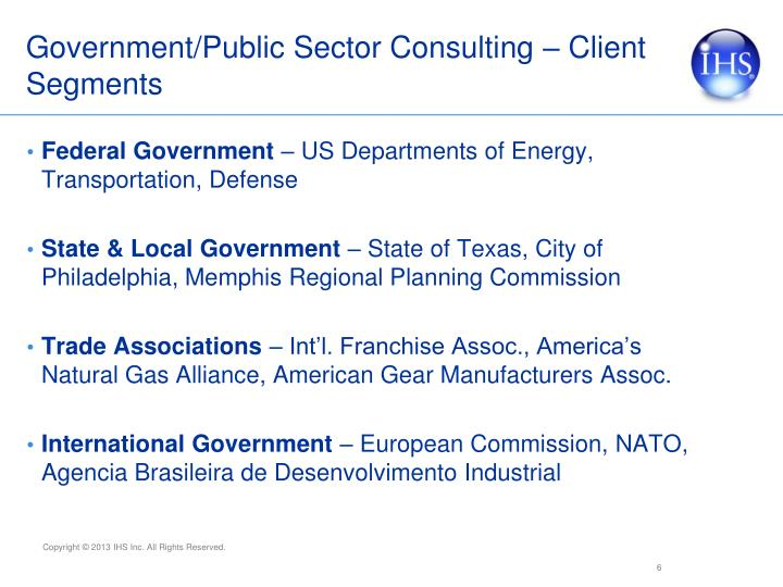 Government/Public Sector Consulting – Client Segments