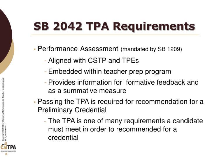 SB 2042 TPA Requirements