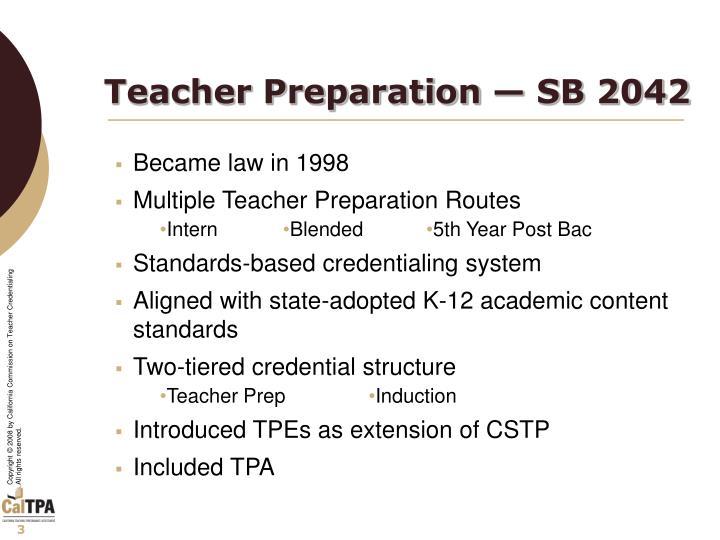 Teacher preparation sb 2042
