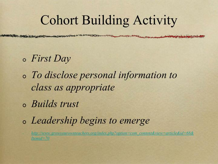 Cohort Building Activity