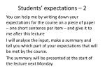 students expectations 2