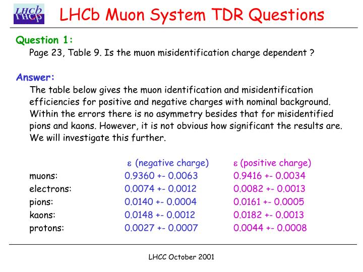 lhcb muon system tdr questions