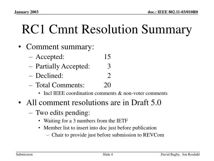 RC1 Cmnt Resolution Summary