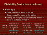 divisibility restriction continued1