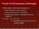 proof of correctness continued