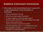 subblock columnsort correctness