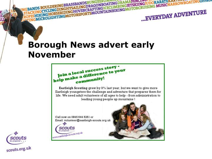 Borough News advert early November