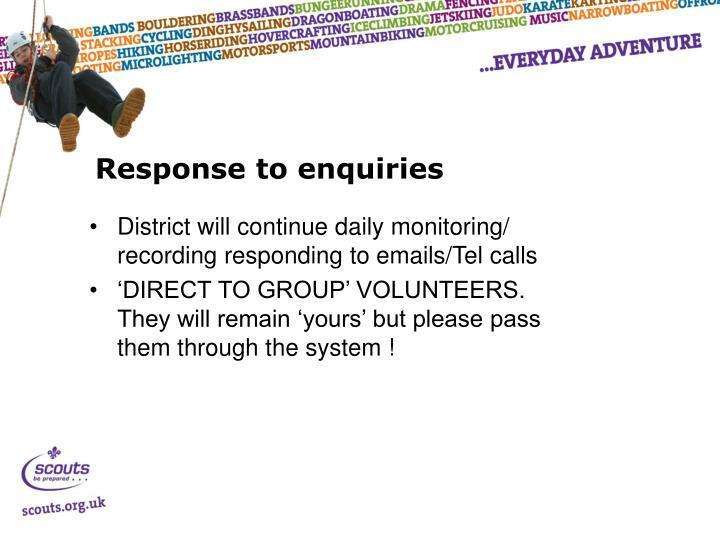 Response to enquiries