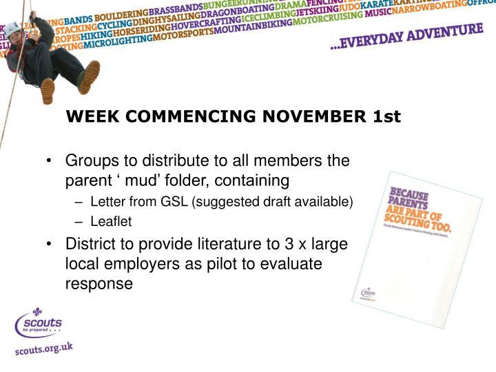 WEEK COMMENCING NOVEMBER 1st