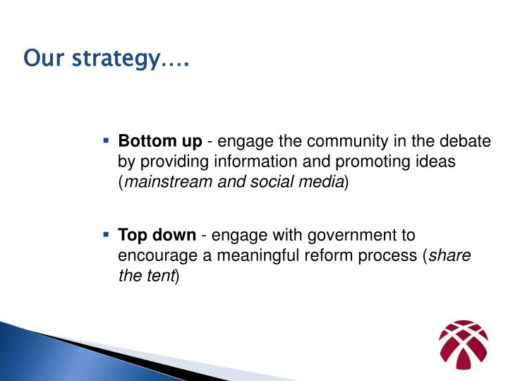Our strategy….