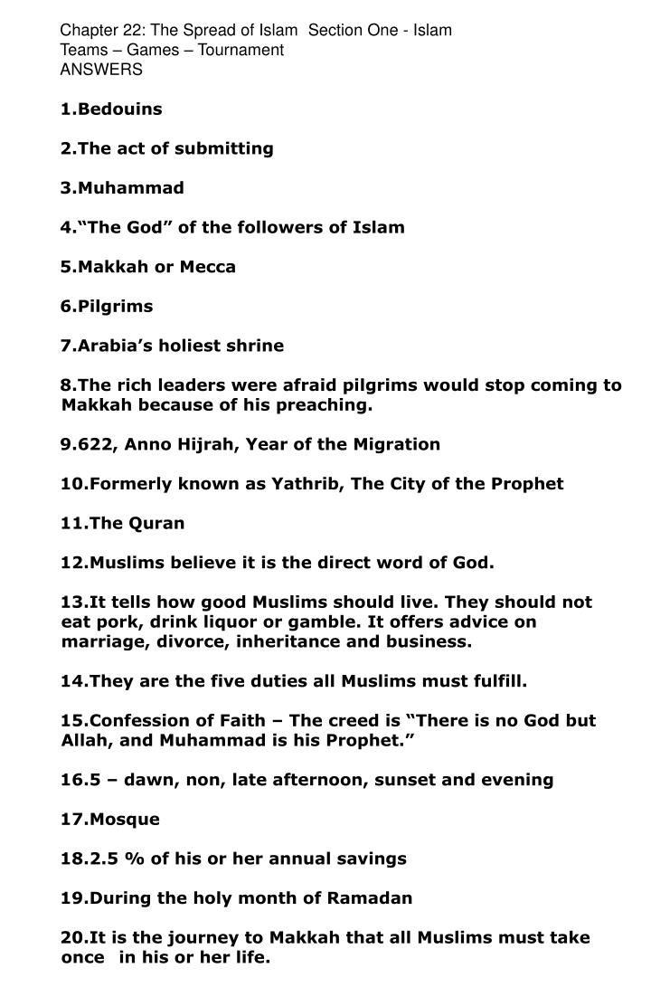 Chapter 22: The Spread of Islam	Section One - Islam