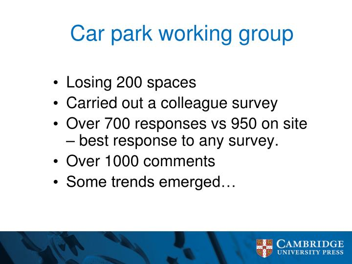 Car park working group