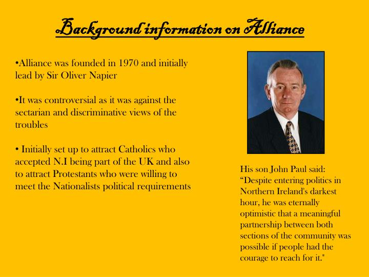 Background information on Alliance