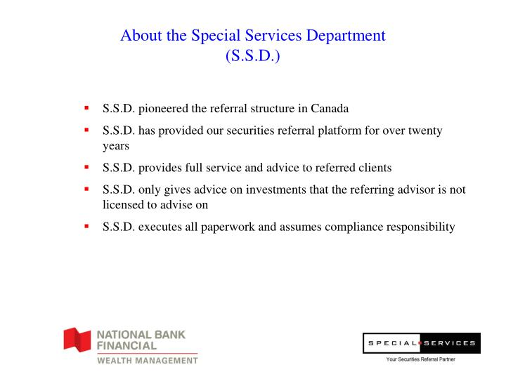 About the special services department s s d