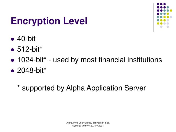 Encryption Level