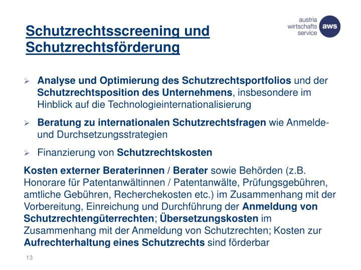 Schutzrechtsscreening und