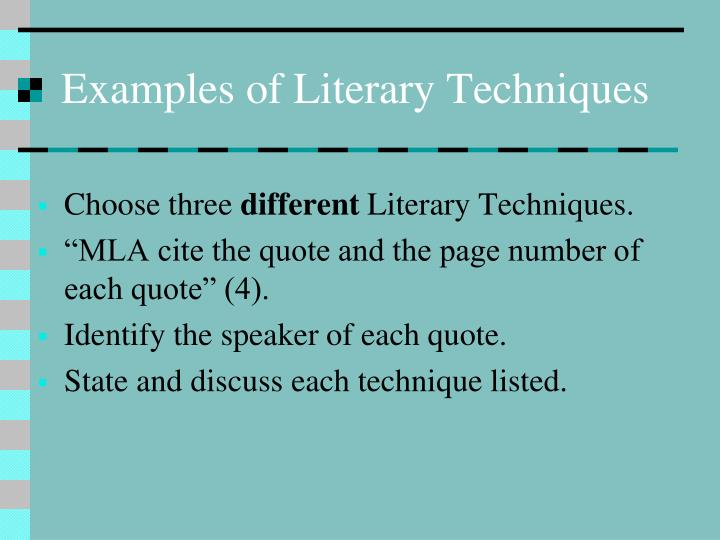 different literary techniques