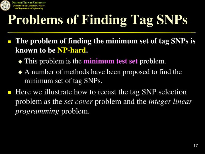 Problems of Finding Tag SNPs