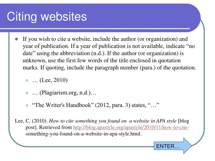 Citing websites