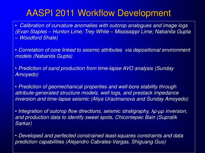 AASPI 2011 Workflow Development
