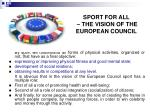 sport for all the vision of the european council