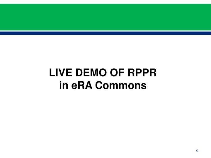 LIVE DEMO OF RPPR in eRA Commons