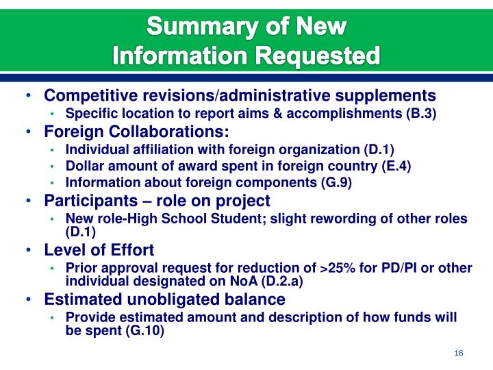 Competitive revisions/administrative supplements