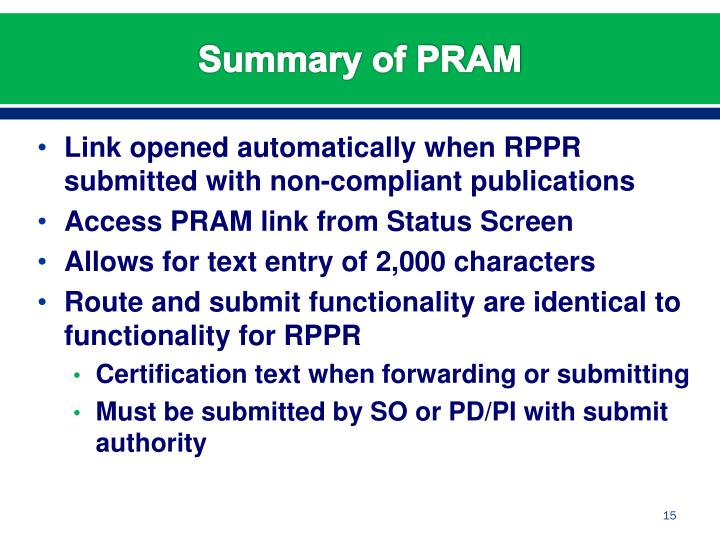 Link opened automatically when RPPR submitted with non-compliant publications