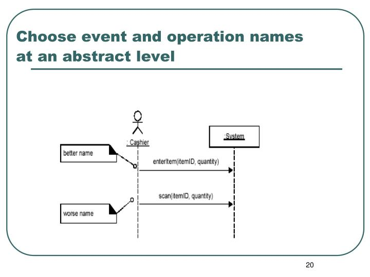 Choose event and operation names at an abstract level