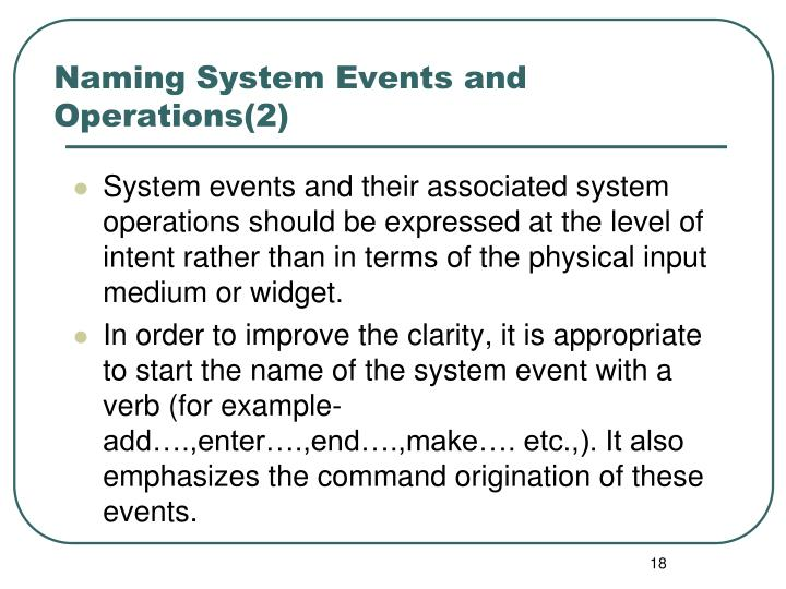 Naming System Events and Operations(2)