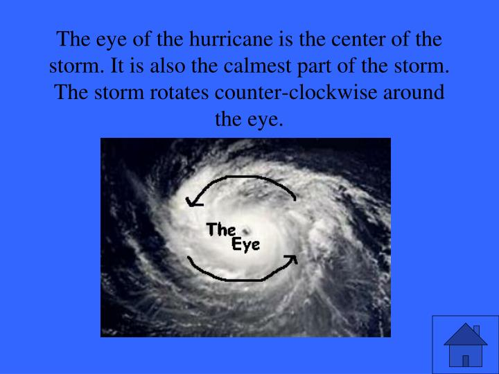 The eye of the hurricane is the center of the storm. It is also the calmest part of the storm. The storm rotates counter-clockwise around the eye.