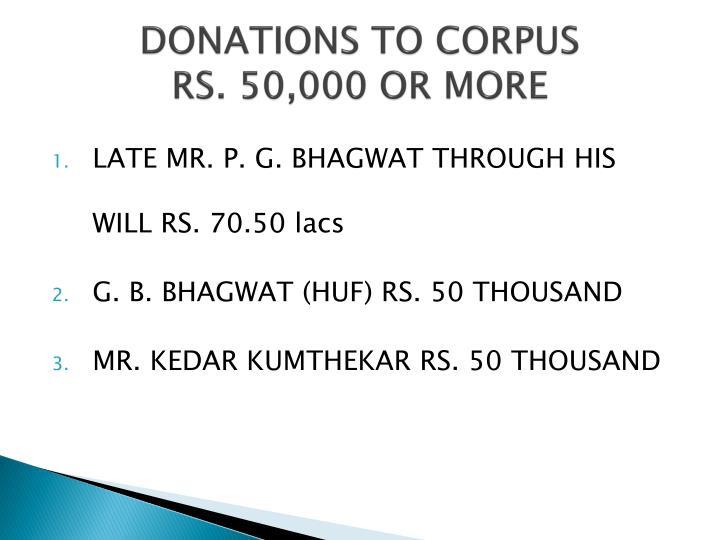 DONATIONS TO CORPUS