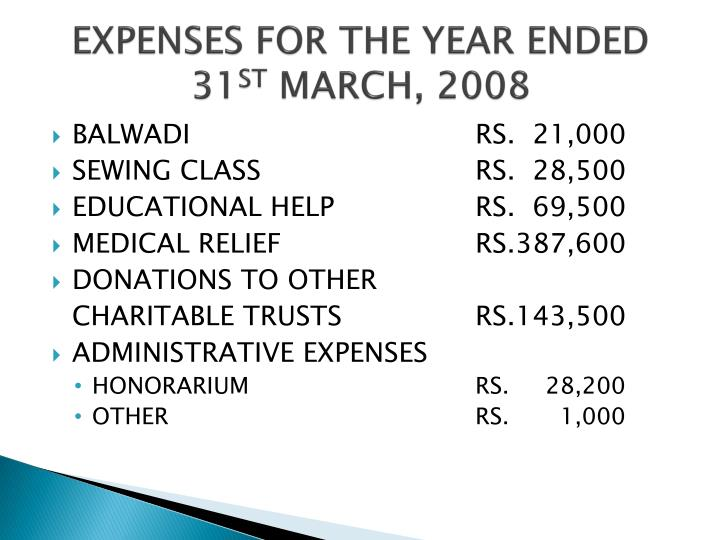 EXPENSES FOR THE YEAR ENDED 31