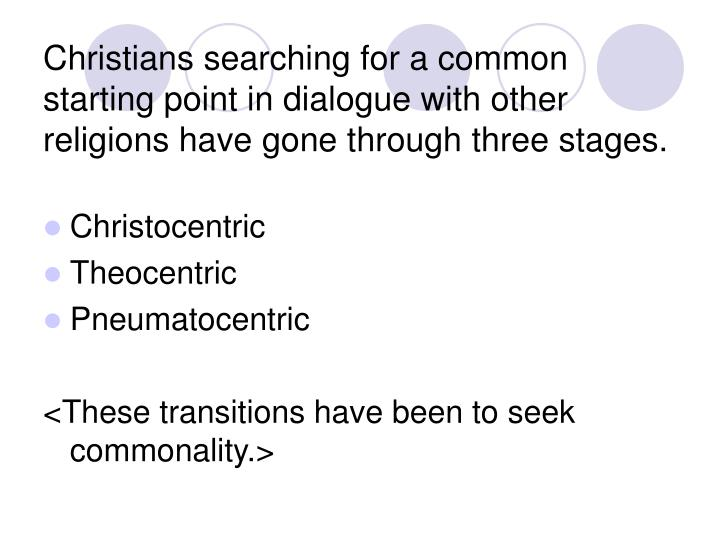 Christians searching for a common starting point in dialogue with other religions have gone through three stages.