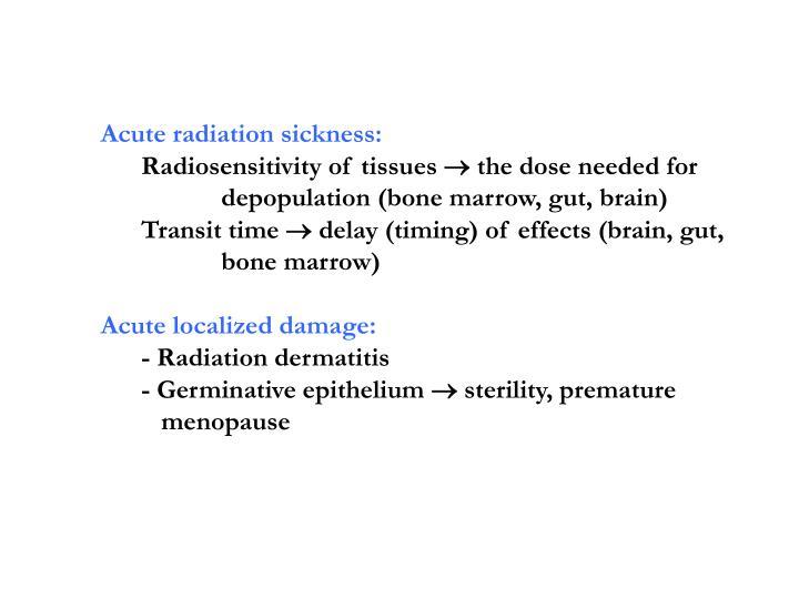 Acute radiation sickness: