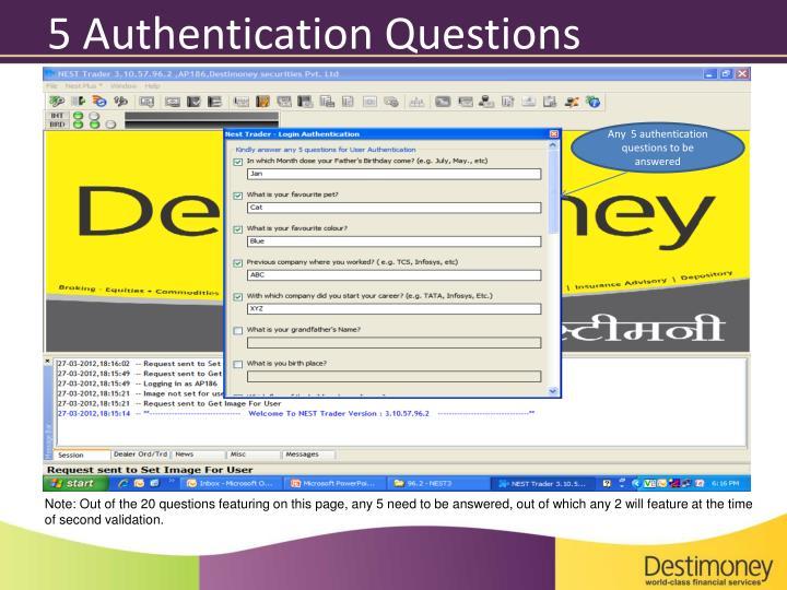 5 Authentication Questions